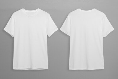 Plakat White t-shirts with copy space on gray background