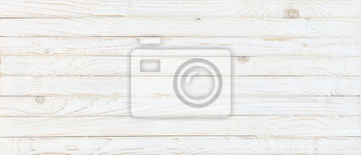 Plakat white wood texture background, top view wooden plank panel