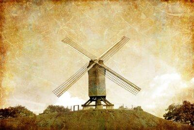 Plakat Wiatrak na wzgórzu - obraz w stylu retro