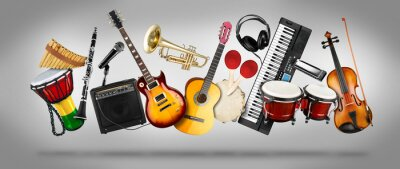 Plakat wide panorama collage  of various musical instruments. Guitar keyboard Brass percussion studio music concept grey background