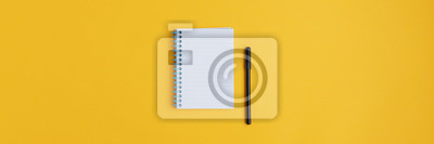 Plakat Wide view image of blank spiral note pad and black marker
