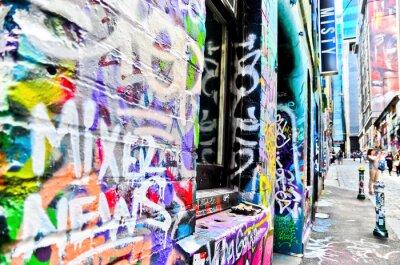 Plakat Widok kolorowe graffiti grafika na Hosier Lane w Melbourne