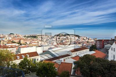 Plakat Widok na centrum Lizbony z punktu widzenia São Pedro de Alcântara