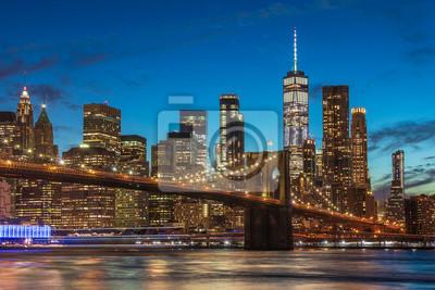 Plakat Widok na Manhattan Skyline z Brooklyn Bridge Park