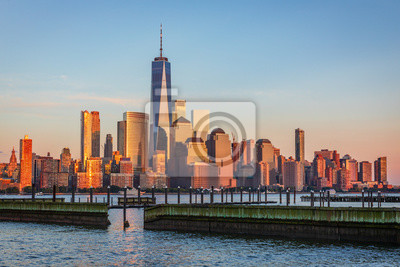 Plakat Widok na Manhattan Skyline z New Jersey, USA