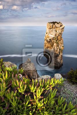 Plakat Widok na morze i skały w Peniche, Portugalia, 2015