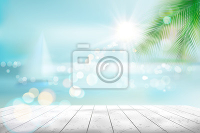 Plakat Widok tropikalna plaża z żaglówką. Ilustracja wektorowa.