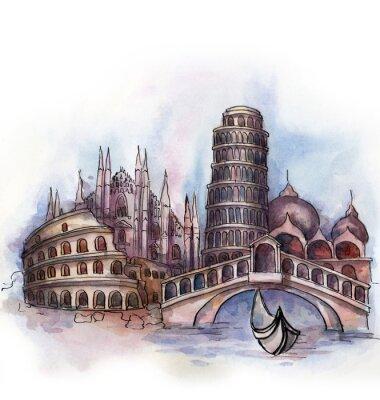 Plakat widok Włochy akwarelą europejskiego kraju związkowego samodzielnie na białym tle