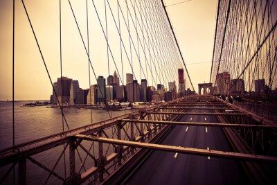 Plakat Widok z dzielnicy finansowej z Brooklyn Bridge