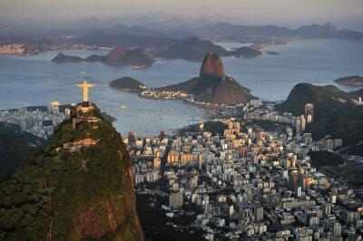 Plakat Widok z lotu ptaka Chrystusa, Głowę Cukru, zatokę Guanabara, Rio de Janeiro