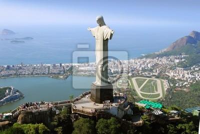 Plakat Widok z lotu ptaka Pomnik Chrystusa Odkupiciela, Rio de Janeiro i