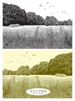 Wiejski krajobraz z pola trawy, drzewa i ptaki latające na niebie. Wektorowa graficzna ilustracja jesieni natura w czarny i biały i beżowym kolorze rocznika stylu.