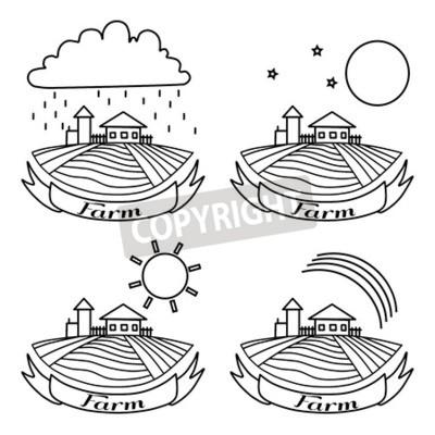 Wiejski krajobraz z polami i domami. Dzień, noc, tęcza, deszcz rolnictwo Krajobraz. American Farm ręcznie rysowane szkic wektor. Grawerowanie ilustracji. W przypadku reklam piekarniczych i turystyczny