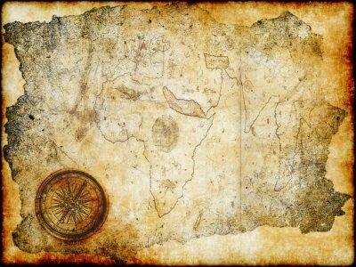 Plakat wieku papier z kompasem mapa skarbów