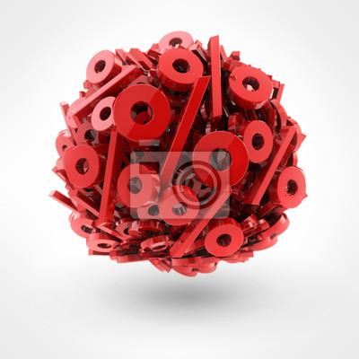 Wiele czerwony procent w formie kuli na białym tle