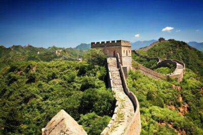 Plakat Wielki Mur Chiński w pobliżu Jinshanling w słoneczny letni dzień