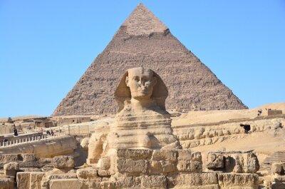 Plakat Wielki Sfinks i piramida Chefrena w Gizie, Egipt
