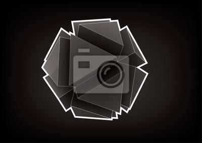 Plakat Wielobarwny wektor z trójkątnymi wytłaczanymi powierzchniami do projektowania graficznego na czarnym tle