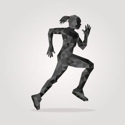 Plakat wielokątne biegacz na szarym tle