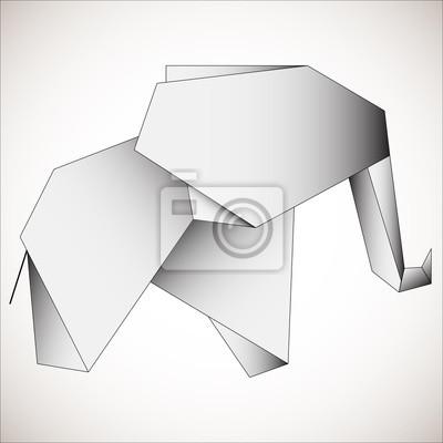 Wielokolorowe słonie konspektu na czarnym tle. Słoń trójkąta stylizowany trójkątny model
