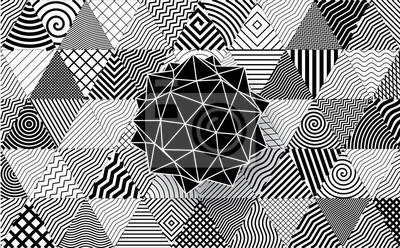 Wielościan na ozdobnym trójkąty tle.