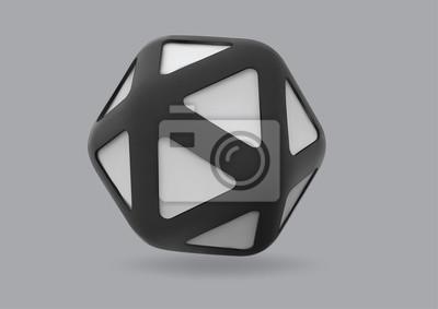 Plakat Wielościan trójkątnej twarzy z czarną krawędzią