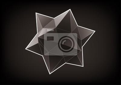 Plakat Wielościan z trójkątnymi ścianami do projektowania graficznego na czarnym tle