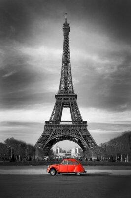 Plakat Wieża Eiffla i czerwony car- Paris