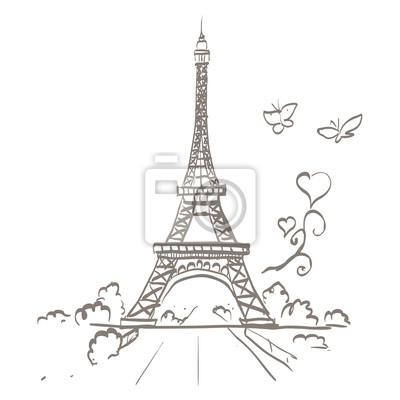 Plakat Wieża Eiffla ilustracji wektorowych ramki romantyczny serca