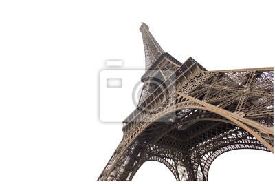 Plakat Wieża Eiffla samodzielnie na białym tle w Paryżu, obraz pomysły projektantów