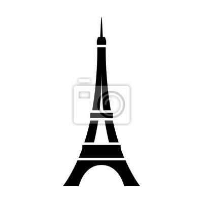 Plakat Wieża Eiffla / Tour Eiffel w Paryżu płaskiej ikony aplikacji i stron internetowych