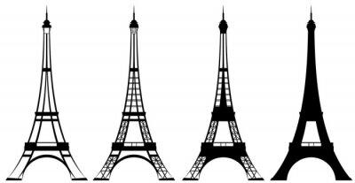 Plakat Wieża Eiffla w czerni i bieli wektora zarys i sylwetka zestaw