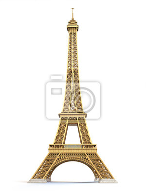 Plakat Wieża Eiffla złote samodzielnie na białym tle