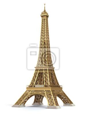 Plakat Wieża Eiffla złote samodzielnie na białym tle.