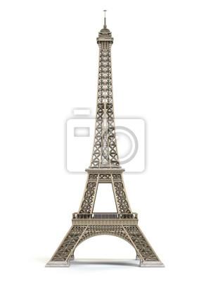 Plakat Wieża Eifla kruszcowa odizolowywająca na białym tle