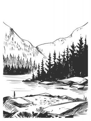 Plakat Wild natural landscape. Transparent background. Hand drawn illustration converted to vector. Great for travel ads, brochures, labels, flyer decor, apparel, t-shirt print.