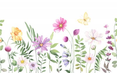 Plakat Wildflowers, green wild plants and flying butterfly, floral seamless pattern with colorful flowers, watercolor horizontal border isolated on white background, hand painting illustration summer meadow