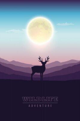 Plakat wildlife adventure elk in the wilderness at night by full moon vector illustration EPS10