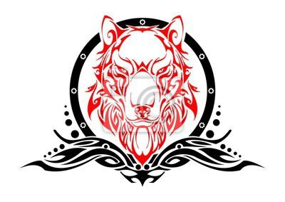 Wilk Bilans Głowy Symetrii Tribal Tatuaż Sylwetka Wektor Z Białym Plakaty Redro