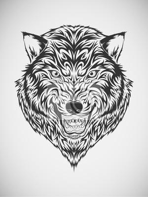Wilk Głowy Tribal Tatuaż Plakaty Redro