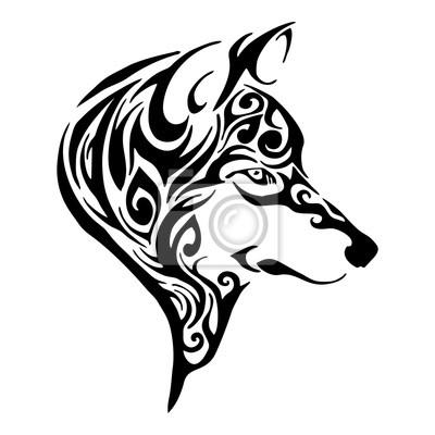 Wilk Głowy Tribal Tatuaż Rysunek Szkic Wyizolowanych Wektorowe Plakaty Redro