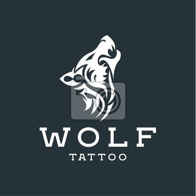 Wilk Wyjący Na Księżyc W Stylu Tatuaże Płaskim Jednokolorowe Plakaty Redro