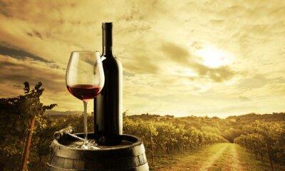 Plakat Winnica o zachodzie słońca
