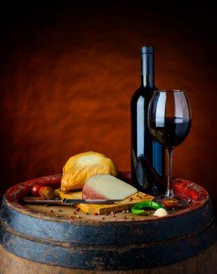 Plakat Wino i sery