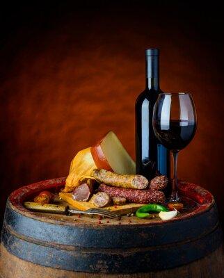 Plakat Wino i tamtejsze jedzenie