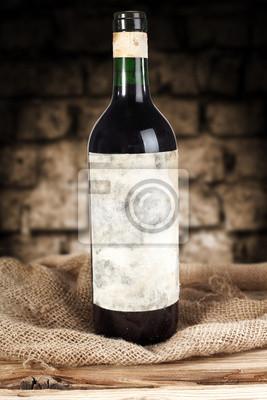 Plakat wino w butelce