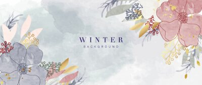Plakat Winter background vector. Hand painted watercolor and gold brush texture, Flower and botanical leaves hand drawing. Abstract art design for wallpaper, wall arts, cover, wedding and  invite card.