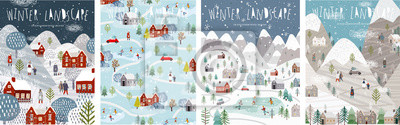 Plakat Winter landscape. Vector illustration of nature, city, houses, people, trees and mountains in the New Year and Christmas holidays. Drawings for poster, background or card.
