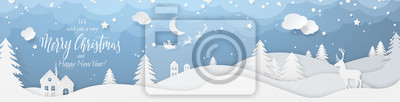 Plakat Winter landscape with deer paper cut-out and fir trees in snow. Festive horizontal banner with text Merry Christmas, Village and flying santa's sleigh in night sky with stars, snowfall and moon.