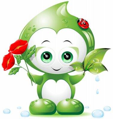 Plakat Wiosna Cartoon Spadek Bio -Bio Wiosna Drop- Vector